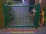 Hochwertiges Gartentor Hoftor / Tor-Einbau-Breite: 125 cm - Tor-Einbau-Höhe: 143 cm - Inklusive 2 Pfosten (60mm x 60mm) / Grün beschichtet / Mattentor