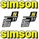 Set: Aufkleber - Klebefolie SIMSON S51 N - GELB - für Tank und Seitendeckel + BISOMO® Sticker