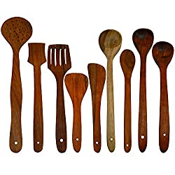 ITOS365 Handmade Wooden Serving and Cooking Spoon Kitchen Utensil Set of 9