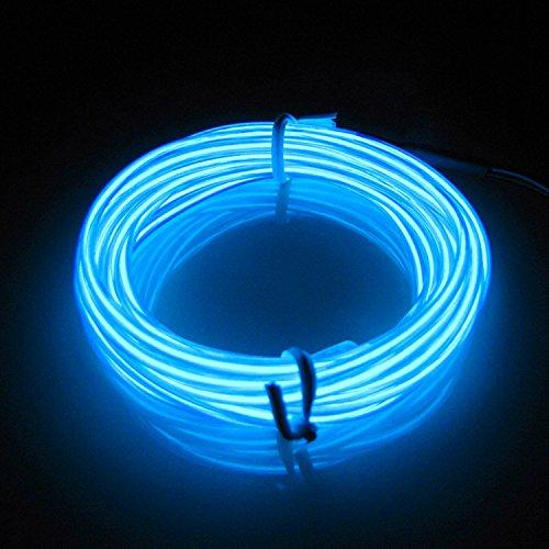 EL Draht Neon, Leuchtet Tron Electroluminescent Beleuchtung Licht Mit Batterie Box, Weihnachten, Nacht Party,Rave, Haus Garten Auto,Fahrrad Rade (El Draht Kostüm Tron)