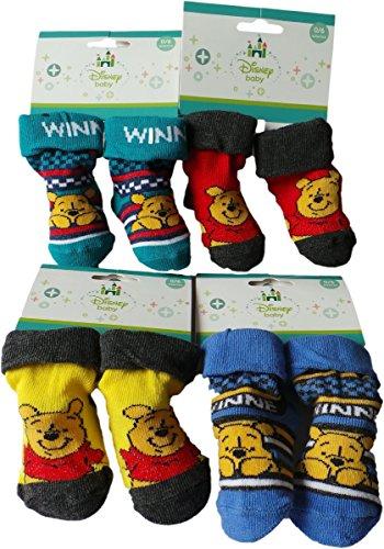 Disney Winnie the Pooh Baby Socken 4er Pack - Lach mit Winnie the Pooh - Blau/Rot/Gelb/Türkis/Mehrfarbig - MLS Kids Bundle