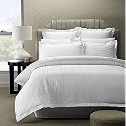 Story@Home 300 TC 100% Cotton Sateen Double King Size Bedsheet with 2 Pillow Covers Plain Premium Platinum Superior Elegant Solid Striped White