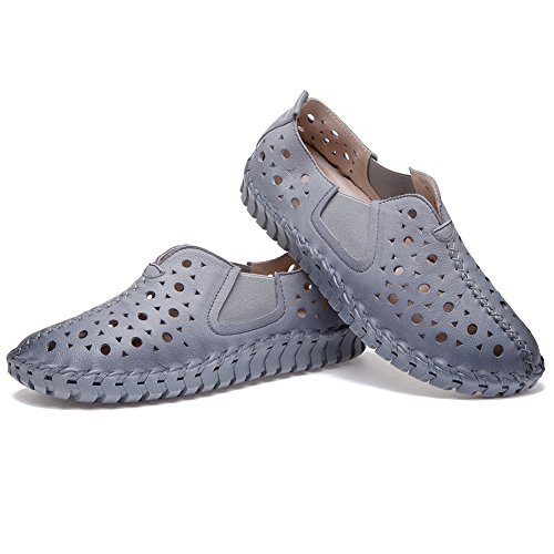 Shenn Damen Schlüpfen Atmungsaktiv Hohl Wohnung Komfort Klassisch Leder Sneakers Schuhe Grau