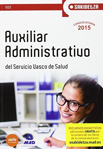 Portada del libro Auxiliar Administrativo de Osakidetza-Servicio Vasco de Salud. Test (Osakidetza 2015)