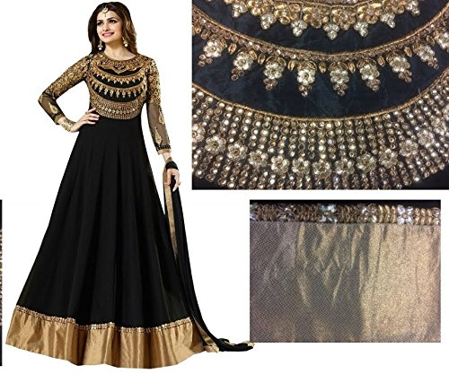 Black embroidered georgette semi stitched anarkali suit