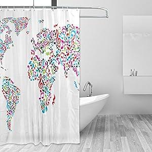 JSTEL – Cortina de ducha con diseño de mapamundi de notas musicales, resistente al moho y resistente al agua, tejido de poliéster, 182,88 x 182,88 cm, para el hogar, extra larga, para baño, decoración de ducha, con 12 ganchos