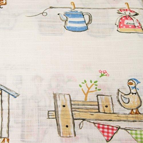 Just Contempo Country Farm Ducks Pencil Pleat Kitchen Curtains, Beige, 46×48 Inches, Fabric, Beige/Multi-Colour, 46 x 48 Inches