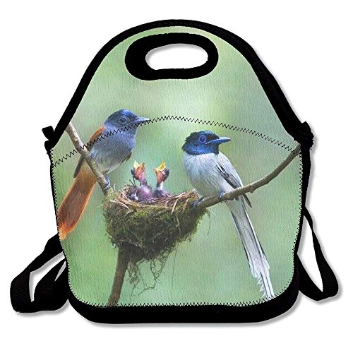 fengxutongxue Adorable Birds Printed Portable Lunch Bag Carry Case Tote with Zipper Strap Box Cooler Container Bags Picnic Outdoor Travel Fashionable Handbag Pouch for Women Men Kids Girls