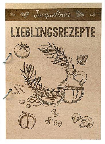 Rustikales Kochbuch aus Holz für Rezepte personalisiert graviert Gravur Name Lieblingsrezepte Geschenk Koch Kochen Backen (76 Seiten / 38 Blatt) Kochen, Backen Blatt