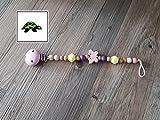 Schnullerkette Hexagon/ Schmetterling rosa/ lila/ gelb/natur