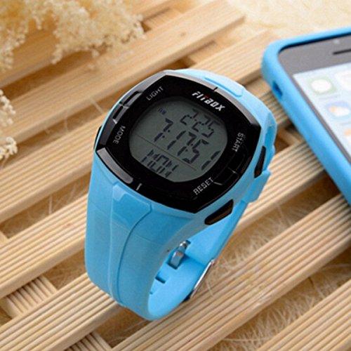 MaMaison007 Impermeabile sport calcolo Monitor della frequenza cardiaca Pulse Calorie guardare - blu