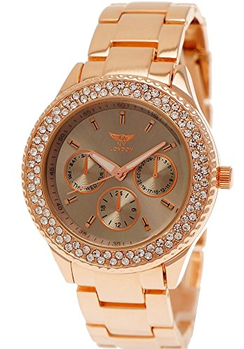 Ny London Damen-Uhr Strass Analog Quarz Armband-Uhr in Rose-Gold Grau Chronograph Optik Uhr