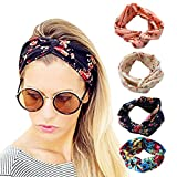 Clothing Accessories Best Deals - DRESHOW 1950's Vintage Flower Headbands for Women Twist Elastic Turban Headband Head Wraps Cute Hair Band Accessories