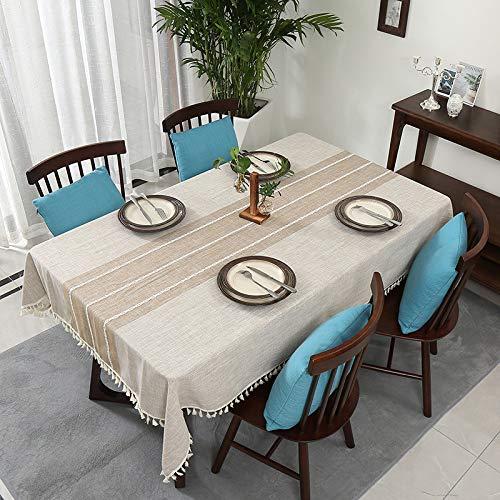 ZYT Waschbar, schmutzabweisend, pflegeleicht, hochwertig,Tischdecke aus frischer Haushaltsbaumwolle und Leinen, schmutzabweisend, waschbar, hell Khaki 140 * 230 cm
