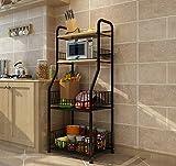 LI JING SHOP - 4-Tier-Küche Landing Shelf mit Mikrowelle Ofen Gewürz LagerGestell Weiß und schwarz ( Farbe : Schwarz )