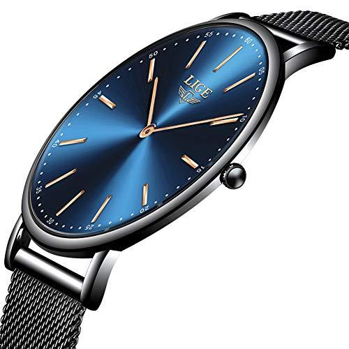 Lige orologi da uomo ultra-sottile unisex impermeabile semplice acciaio inossidabile orologio da uomo moda casual analogico al quarzo nero da polso da uomo