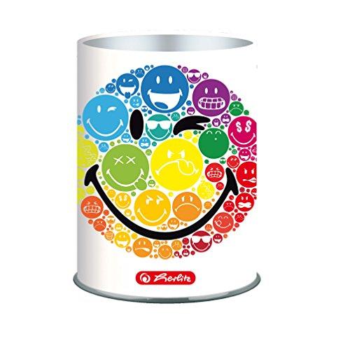 Herlitz 50002108 Metallköcher Smiley World Rainbow, rund, Höhe 9.6 cm
