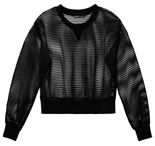 Neu Damen Mesh Fischnetz Voll Ärmel T-Shirts Bluse Crop Tops 36-42 Black