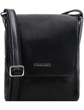 81414084 - TUSCANY LEATHER: JOHN - Herrentasche aus Leder mit Reißverschluss, Schwarz