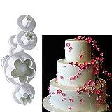 Pflaumenblüten-Ausstecher von display08,4Stück, Fondant, Zuckerhandwerk, Dekorationsform, Kuchen-Ausstecher