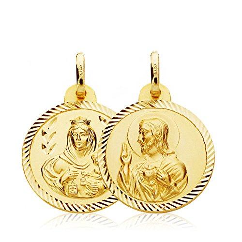 Escapulario Virgen Carmen y Corazón de Jesús Medalla Oro 18k hélice 20 mm