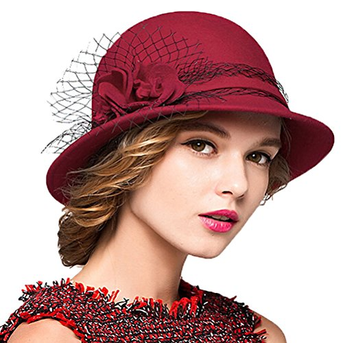 Maitose™ Damen Wollfilz Bowler Hat (Lady Kostüm Hat Red)