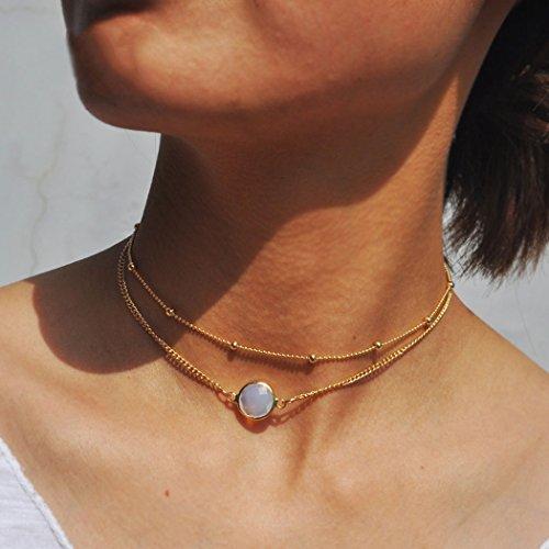 simsly Einfache Opal Kristall Stein Anhänger Doppel-Halskette Kette Zubehör Schmuck verstellbar für Frauen und Mädchen