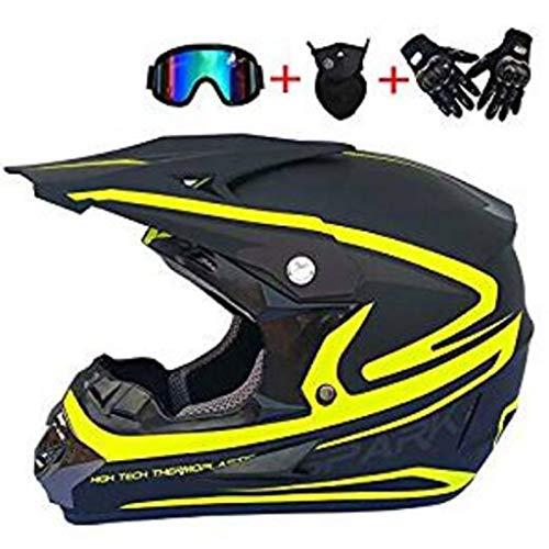 Motocross Helm Goggles Handschuhe Maske Erwachsener Motorradhelm Motorrad Mountainbike Vier Ecken Vollgesichtssturzhelm DH Offroad ATV Erwachsene Junge Männer und Frauen (Size : S) -