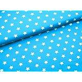 0,5m Stoff Sterne groß in türkis/ weiß Motivgröße 2cm