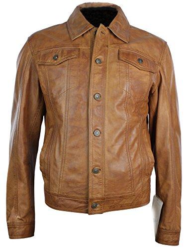 Herren Vintage Denim Style Leder Jacke im Retro Style Braun