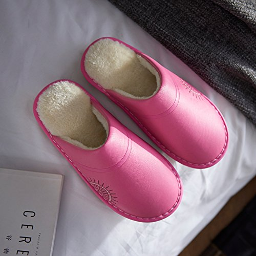 Inverno fankou pantofole di cotone femmina interna spessa in interni casa calda anti-skid tendine fondo scarpe pantofole inverno Kaffee Farbe