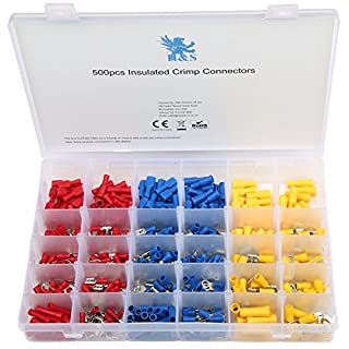 H&S 500pcs Electrical Wire Connector Assorted Insulated Crimp Terminals Kit Pack Crimp Connectors Electrical Terminals Spade bullet Butt Connectors