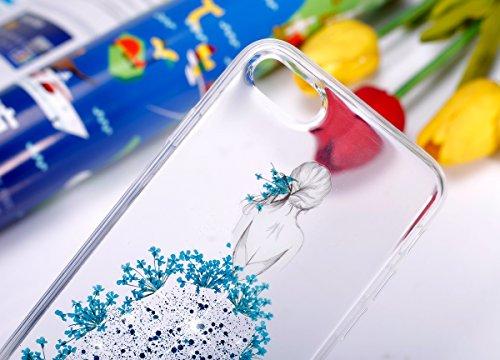 Coque iPhone 7 Plus,Étui iPhone 7 Plus,iPhone 7 Plus Case,ikasus® Coque iPhone 7 Plus Silicone Étui Housse Téléphone Couverture TPU avec Coloré Pressé Vraies Fleurs Secs Bling Glitter Sparkle Girl Fle Bleu