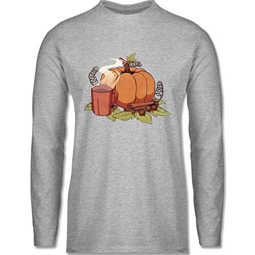 Shirtracer Statement Shirts - Pumpkin Spice - Herren Langarmshirt Grau Meliert
