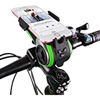 UPPEL Fahrrad handyhalterung, Kabellos Fahrrad Lautsprecher,LED Fahrradlicht, Multifunktions Staub und Wasserdicht Fahrrad Halterung Handy,mit Powerbank und Fahrradzubehör (Grün)