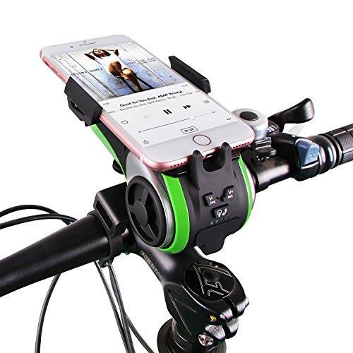 Milool Fahrradlicht , Kabellos Fahrrad Lautsprecher, Multifunktions Staub und Wasserdicht Fahrrad Handy Halterung,mit Powerbank und Fahrradzubehör (Green)