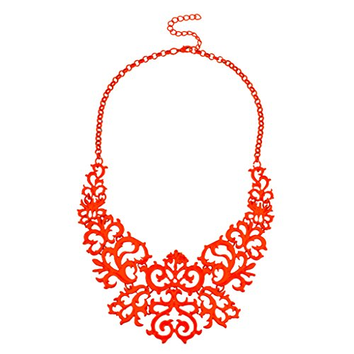 Lux accessori Arancione filigrana Catena Dichiarazione Collana