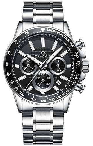 Herren Uhren Männer Chronograph Sport Wasserdicht Luxus Silber Edelstahl Armbanduhr Mann Business Mode Lässige Datum Analoge Uhr