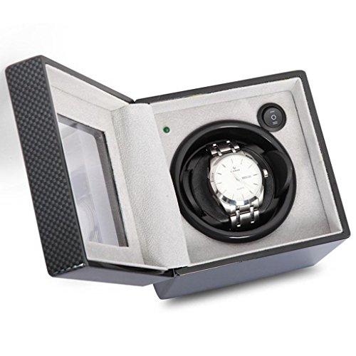 WuShuang Watch Winder/Shaking Watch Box/Mechanische Uhr Box/Automatik Uhr Motor Box / 4 Dinds der Rotation Prozeduren/Handgefertigte Produktion/Klavier Farbe Perfekt für eine Standorte, Kohlefaser, s