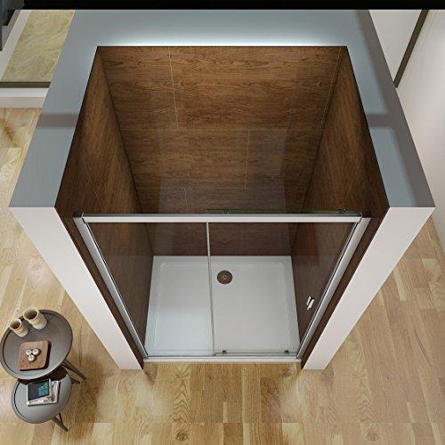 100 x 185 cm Nischentür Duschtür Schiebetür Duschabtrennung Duschwand aus 6mm ESG Sicherheitsglas Klarglas ohne Duschtasse - 3