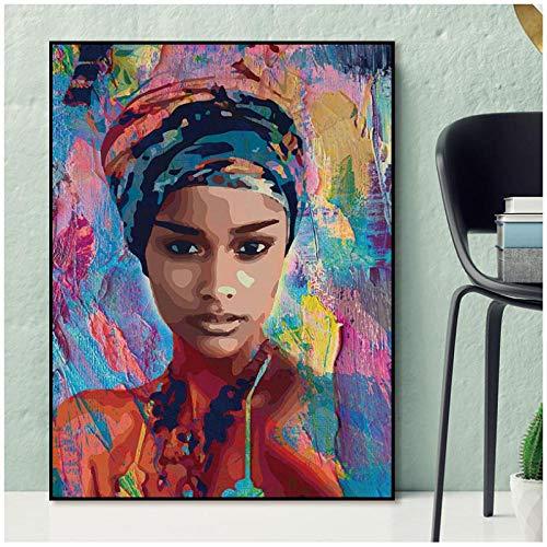 dayanzai Wandkunst Gemälde Für Wandbilder Abstrakte Afrikanische Frau Abbildung Kunstdrucke Poster Hauptdekoration Für Wohnzimmer Porträt 60X90Cm Kein Rahmen -