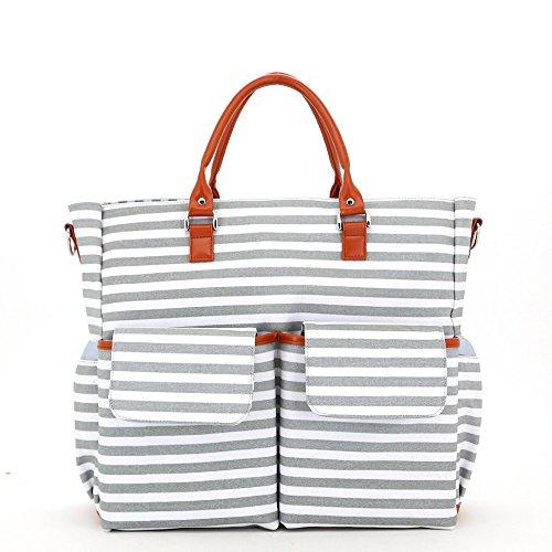 MIMI KING Gestreifte Mode Mommy Bag Schulter Messenger Handtasche Multifunktionale Große Kapazität Canvas Baby Care Reisetasche,Gray (Tote Kurze Bag Messenger)