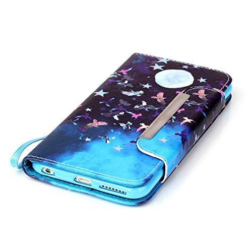 Kio iPhone 5S/SE, motivo: dipinto di viso, custodia a portafoglio con cinghia, per iPhone 5S e SE, in pelle PU, a portafoglio, con funzione di supporto, chiusura magnetica, con porta carte di credito, P-03