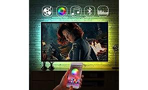 Luces de tira LED, control de aplicación de cambio de color de retroiluminación, iluminación de polarización RGB alimentada por USB, sincronización con música para fiesta