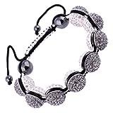 Kadima Alloy Shamballa Adjustable Bracelet,Unisex,14MMAlloy Round Beads With Gems-Black Diamond/White,And 12MMHematite