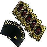 HAC24 5X 54 Blatt Wasserfeste Premium Plastik Spielkarten Schwarz | Profi Pokerkarten | Kunststoff Poker Skat Karten | Playing Cards