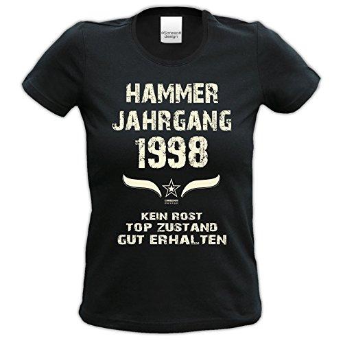Damen Jahreszahl Motiv T-Shirt :-: Geburtstagsgeschenk Geschenkidee für Frauen zum 19. Geburtstag :-: Hammer Jahrgang 1998 :-: Girlie kurzarm Shirt mit Geburtstags-Aufdruck :-: Farbe: schwarz Schwarz
