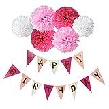 Happy Birthday Girlande Set, Wartoon Habby Birthday Alles Gute Zum Dekoration Deko Geburtstag Girlande Quasten Girlande Geburtstag und 6 Seidenpapier Pompons Rosa Pompoms für Geburtstag Dekoration