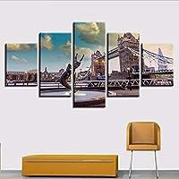 Cczxfcc Decoración Cartel Impresiones Arte Moderno 5 Piezas Puente De Londres Paisaje De La Ciudad Cuadro