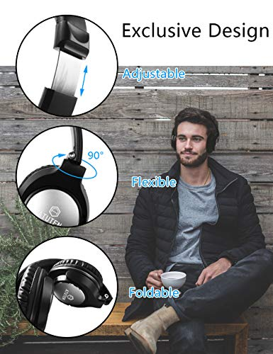 Bluetooth Over-Ear Kopfhörer - Atuten Kabellos Faltbare Ohrhörer Stereo Gaming Headphone mit Mikrofon für Alle Geräte mit Bluetooth/3.5mm Klinkenstecker - Kompatibel mit IOS Android - 7